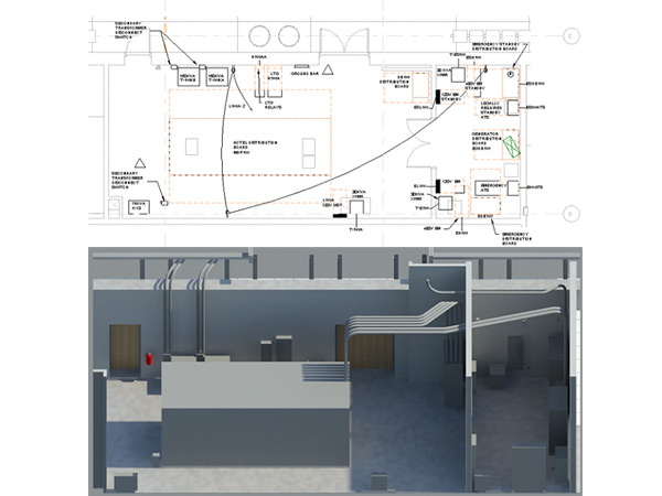 Electrical Room Equipment Plan View and Rendering